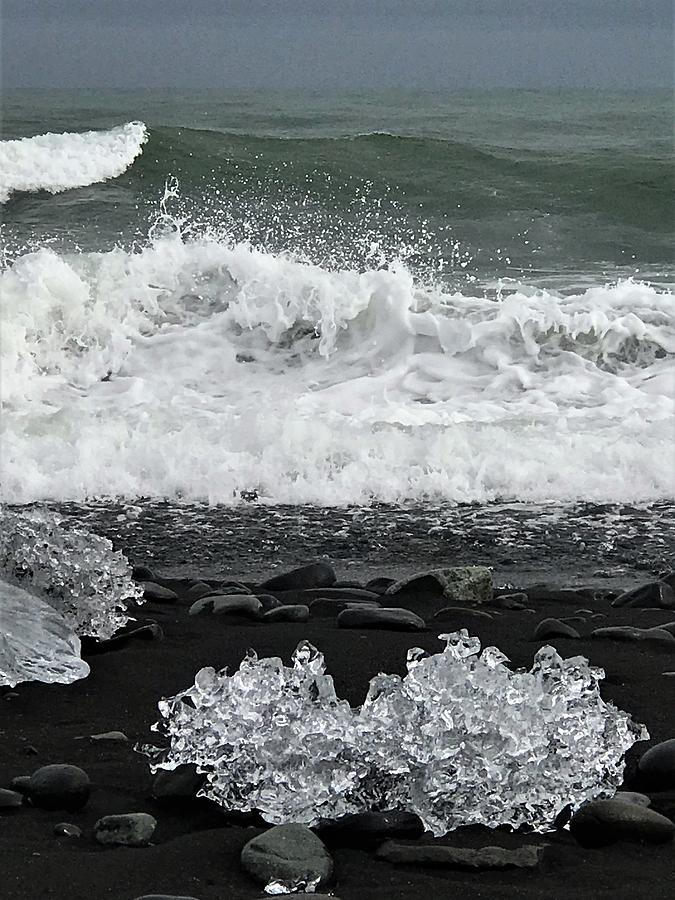 Iceland Photograph - Waves And Ice by Norman Burnham