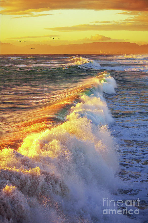 Waves At Sunset by Jerry Cowart