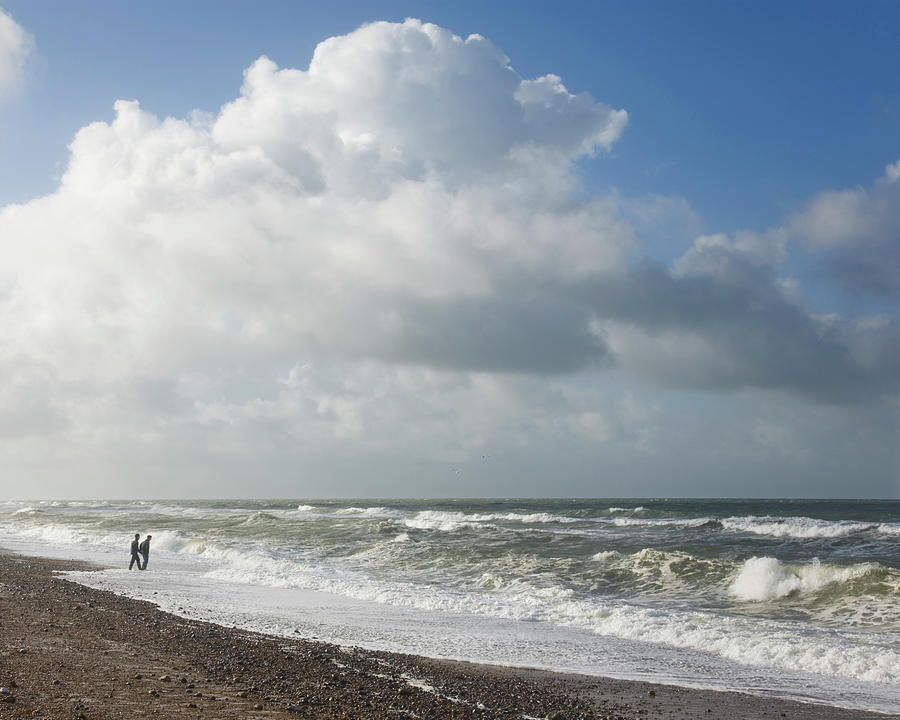 Waves Breaking Onto Shingle Beach On A Photograph by David C Tomlinson