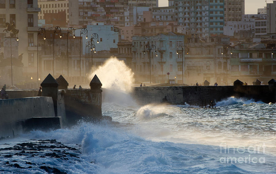 Tide Photograph - Waves Crashing Against The Sea Wall Of by Corlaffra