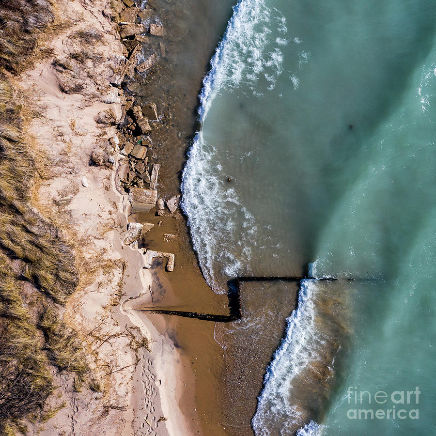 Lake Michigan Photograph - Waves Crashing At Point Betsie From The Sky by Twenty Two North Photography