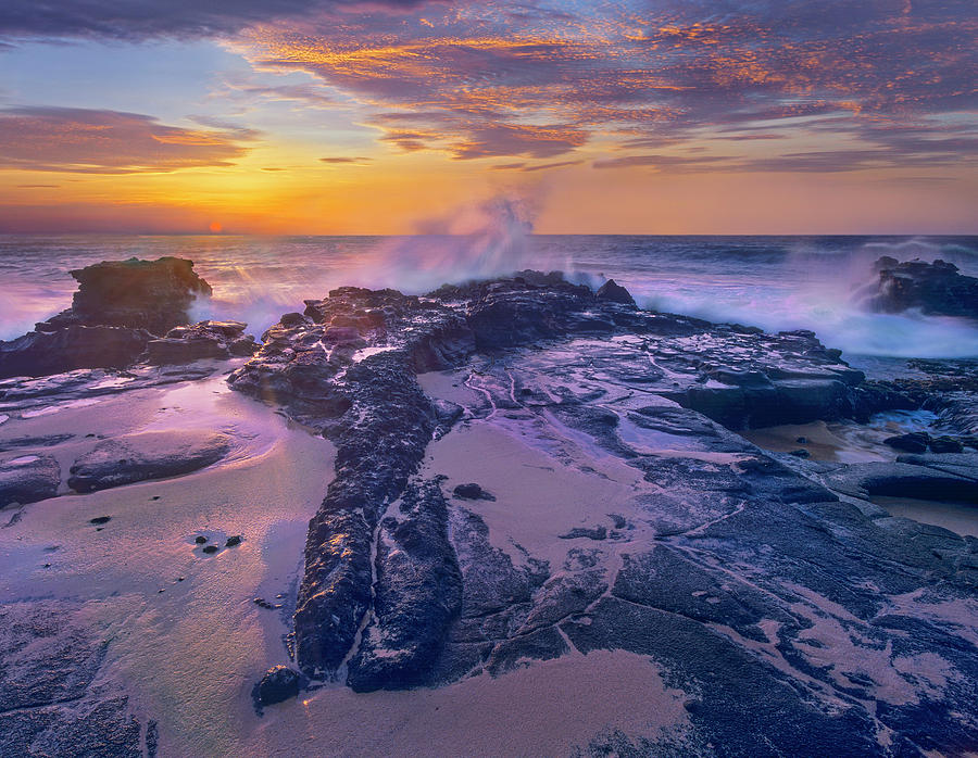 Waves Crashing At Sunset Sandy Beach Oahu Hawaii Photograph By Tim Fitzharris