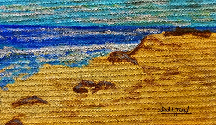 Oil Painting - Waves On A Rocky Beach by George Dalton