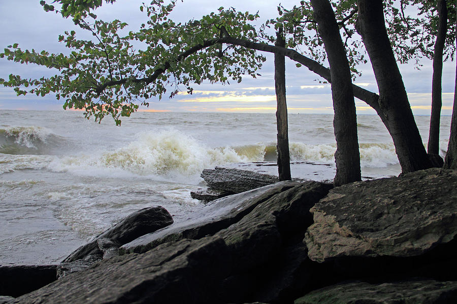 Lake Erie Photograph - Waves on the Lake by Angela Murdock