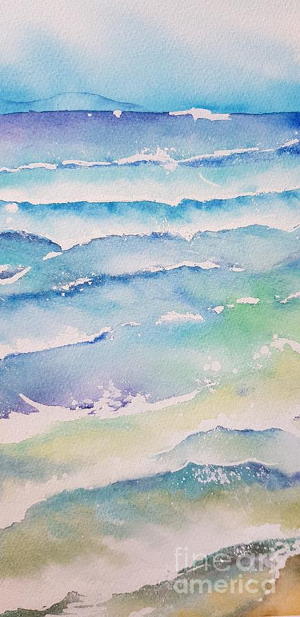 Watercolor Painting - Waves by Paola Baroni