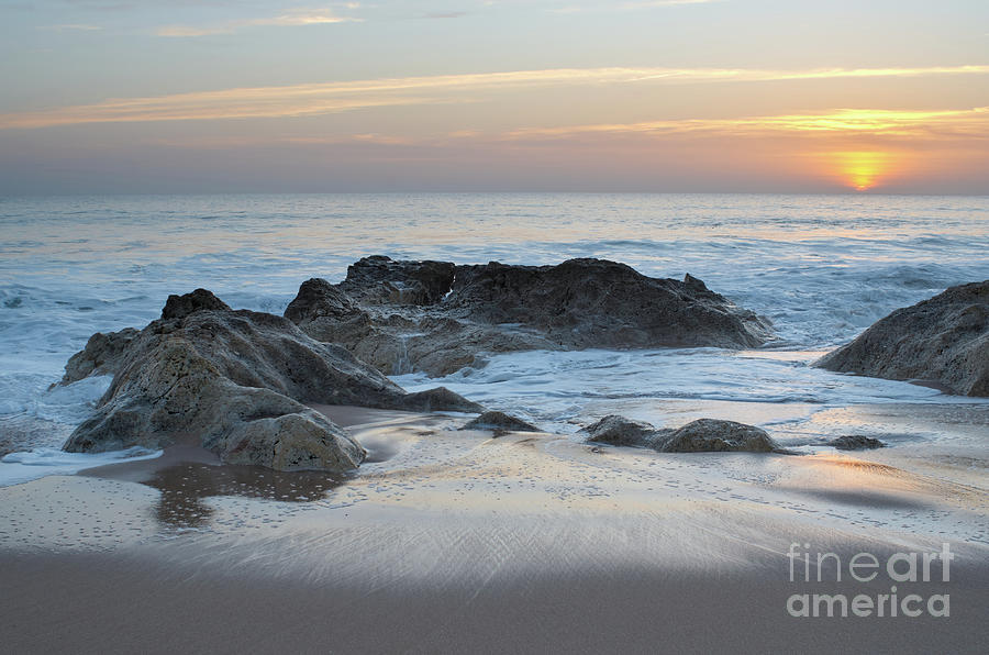 Waves, rocks and sunset in Salgados by Angelo DeVal