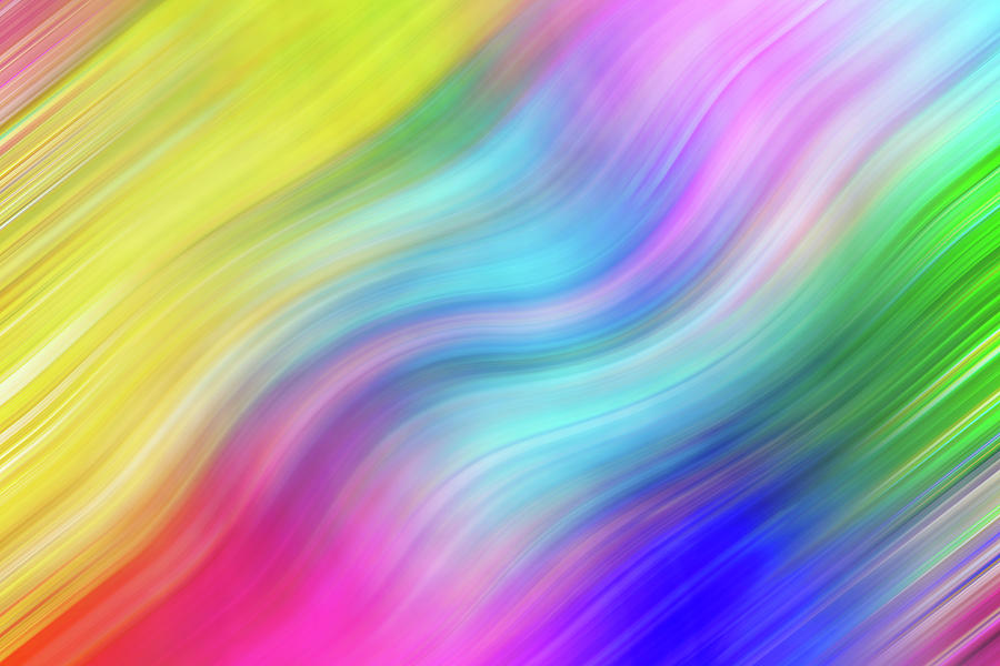 Wavy Colorful Abstract #1 - Yellow Blue Pink by Patti Deters
