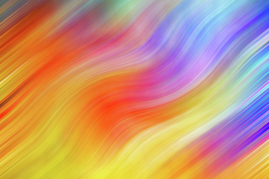 Wavy Colorful Abstract #2 - Yellow Orange Blue by Patti Deters