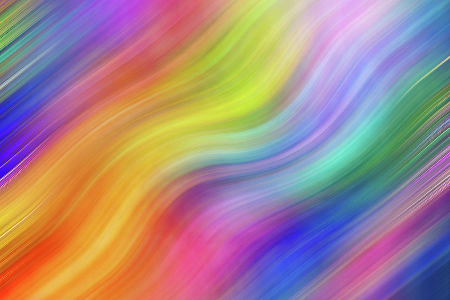 Wavy Colorful Abstract #3 - Yellow Blue Pink Purple by Patti Deters