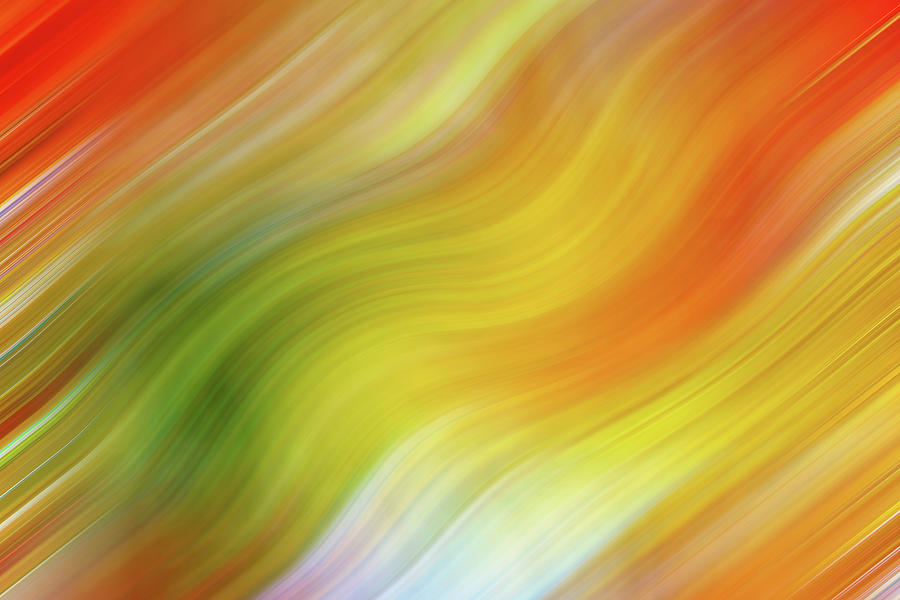 Wavy Colorful Abstract #4 - Yellow Green Orange by Patti Deters