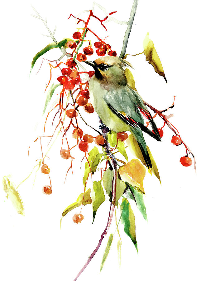 Waxwing Painting - Waxwing in the Fall by Suren Nersisyan