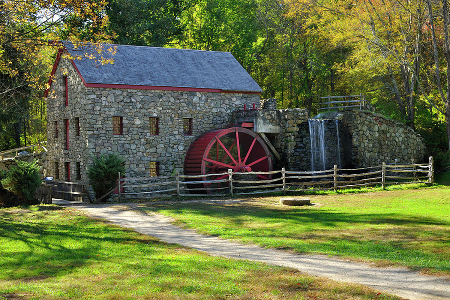 Grist Mill Photograph - Wayside Inn Autumn Grist Mill by Luke Moore