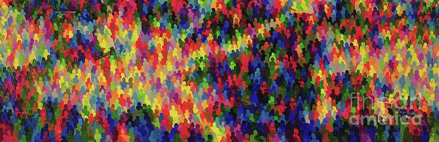 Crowds Painting - We, America by Bayo Iribhogbe