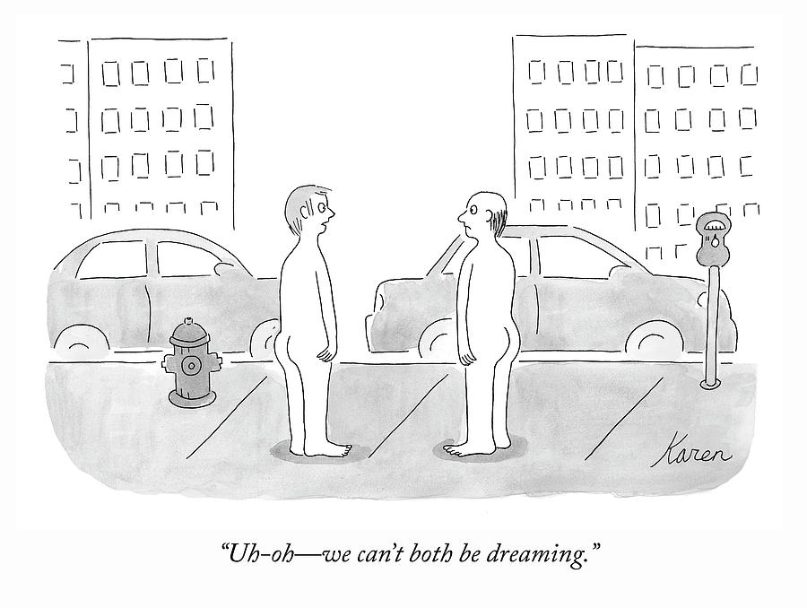 We Cant Both Be Dreaming Drawing by Karen Sneider
