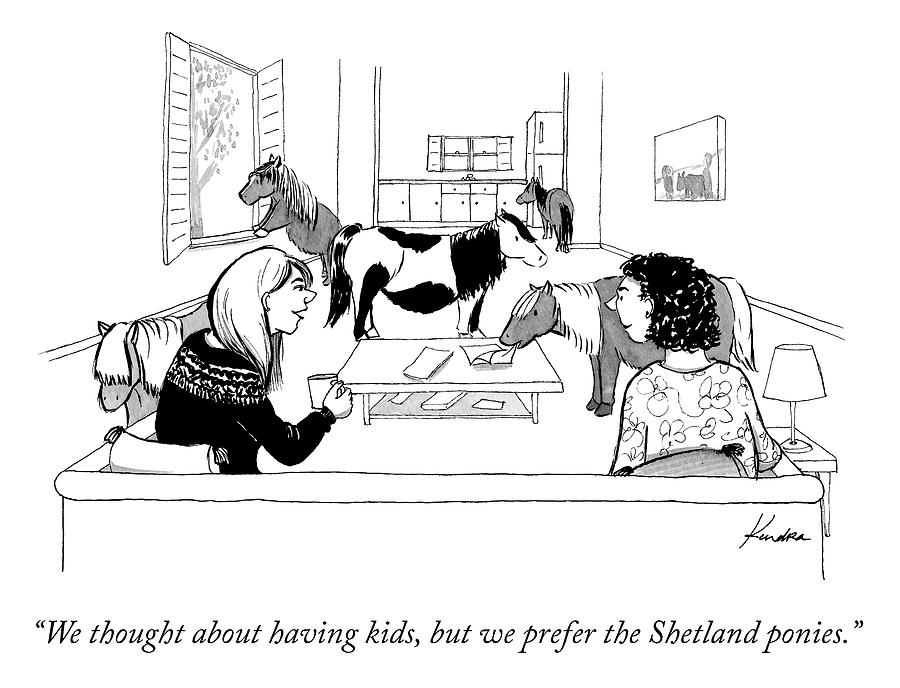 We Prefer the Shetland Ponies Drawing by Kendra Allenby