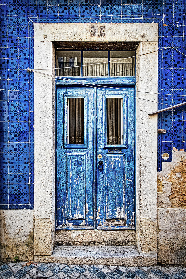 Weathered Blue Door - Portugal by Stuart Litoff