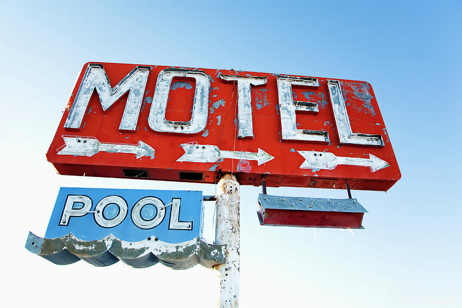 Weathered Retro Motel Sign Photograph by Fotosearch