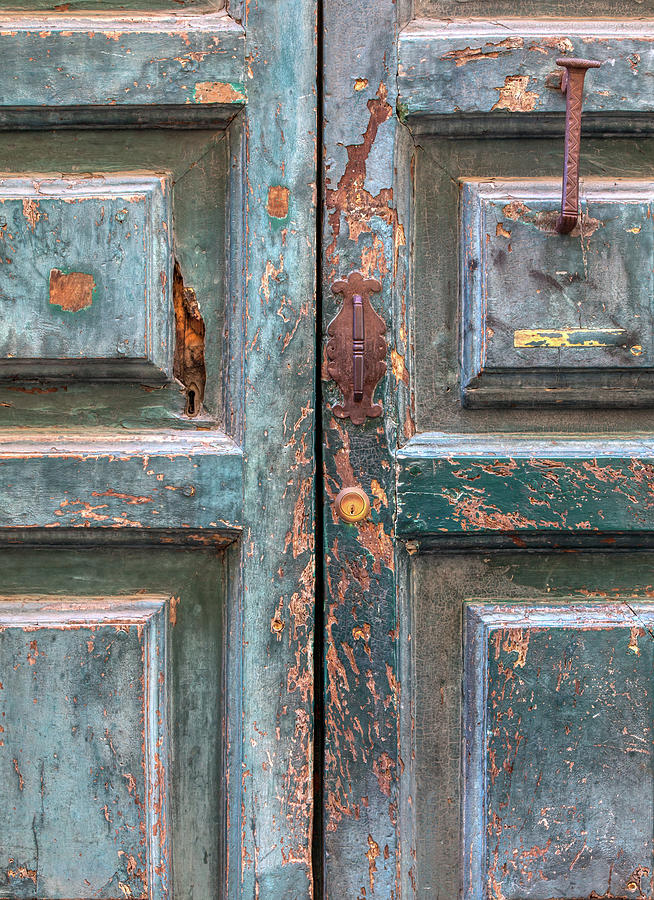 Weathered Rustic Green Door of Cortona by David Letts
