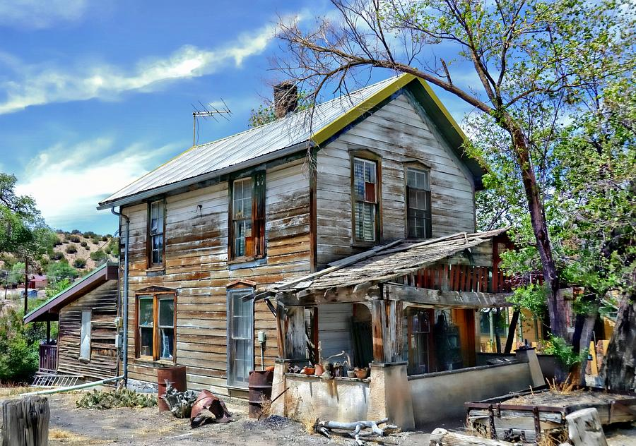 Weatherworn House In Madrid New Mexico Photograph By Toni Abdnour