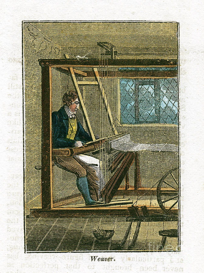Weaver At His Loom, 1823 Drawing by Print Collector
