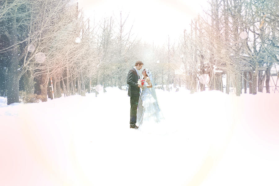 Wedding In Snow Photograph by Yurif