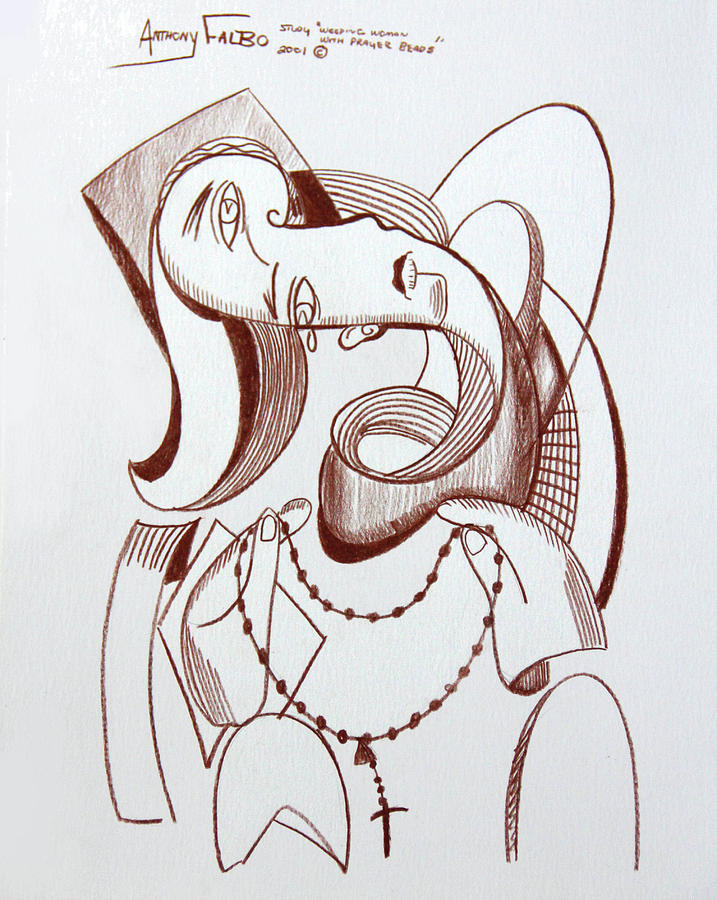 Cubism Drawing - Weeping Woman With Prayer Beads by Anthony Falbo