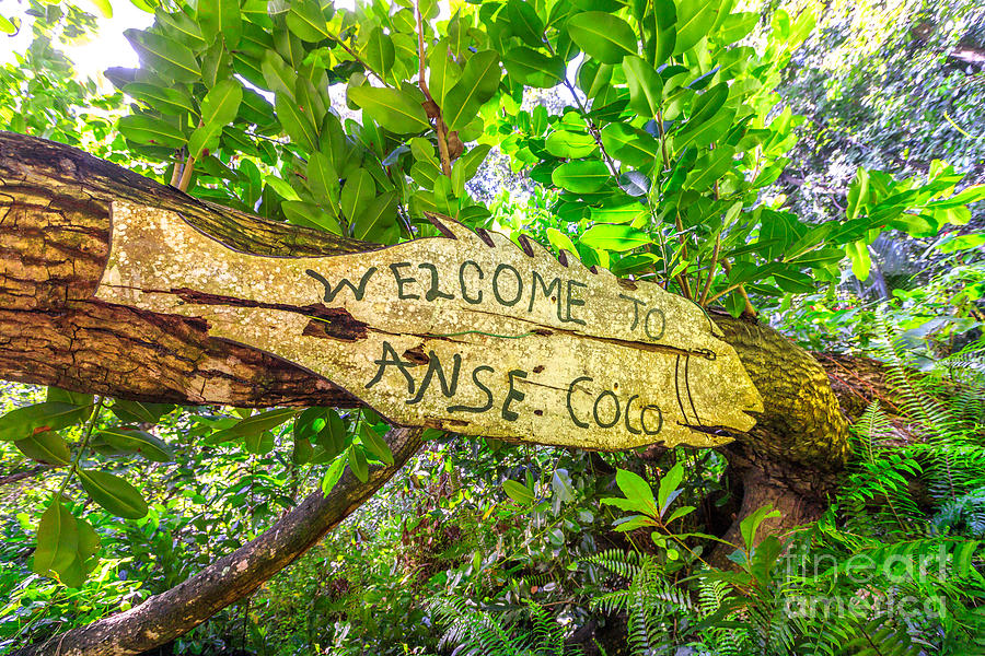 Seychelles Photograph - Welcome At Anse Coco Sign by Benny Marty