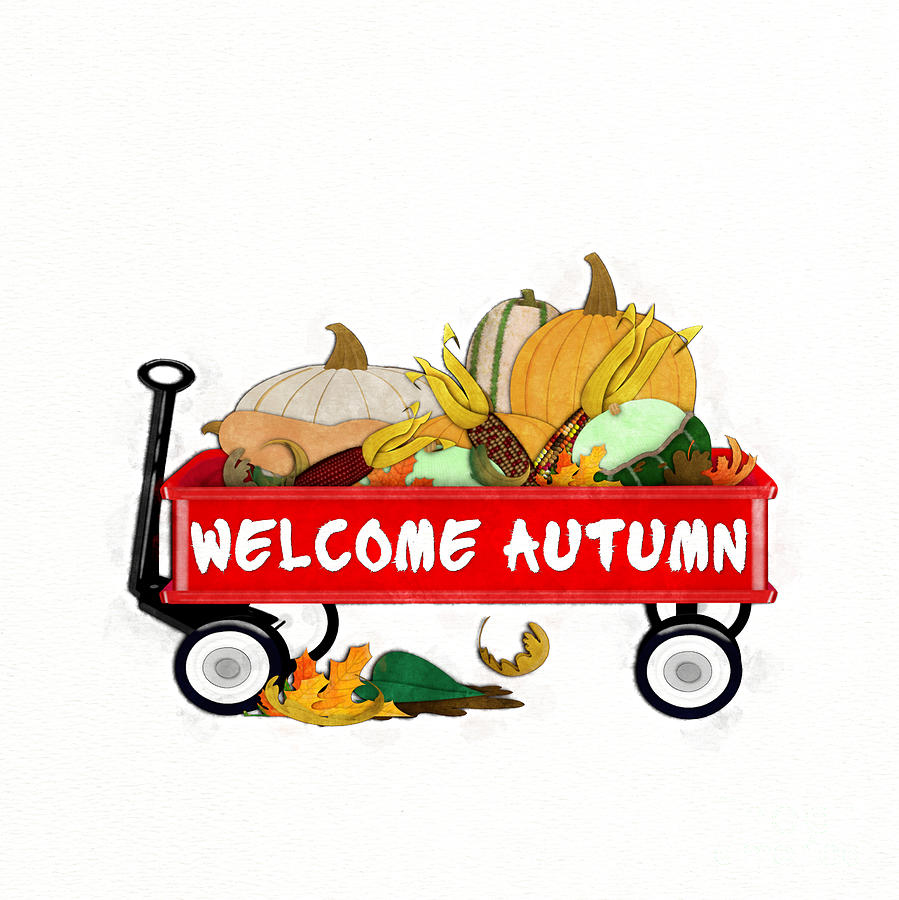 Welcome Autumn Digital Watercolor by Colleen Cornelius