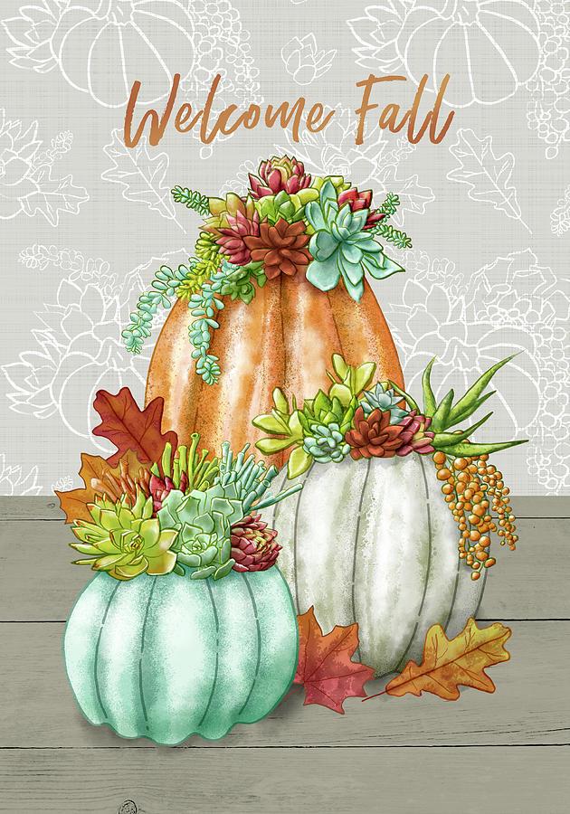 Welcome Fall Succulent Pumpkin Arrangement by Jen Montgomery by Jen Montgomery
