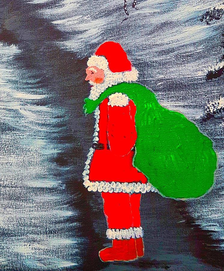 Santa Painting - Welcome Santa Glow by Angela Whitehouse