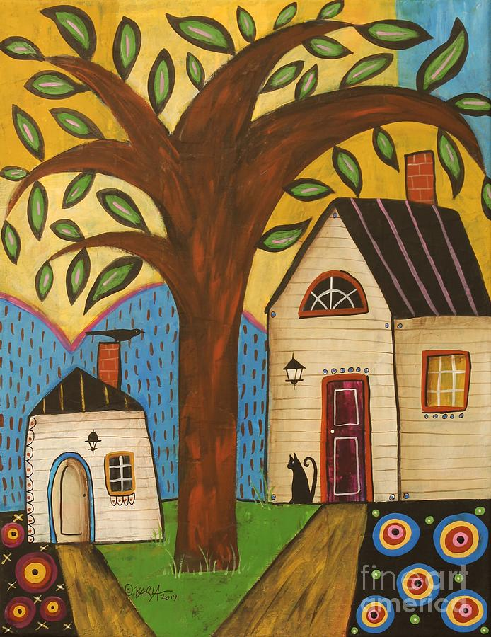 Black Cat Painting - Welcome Spring by Karla Gerard