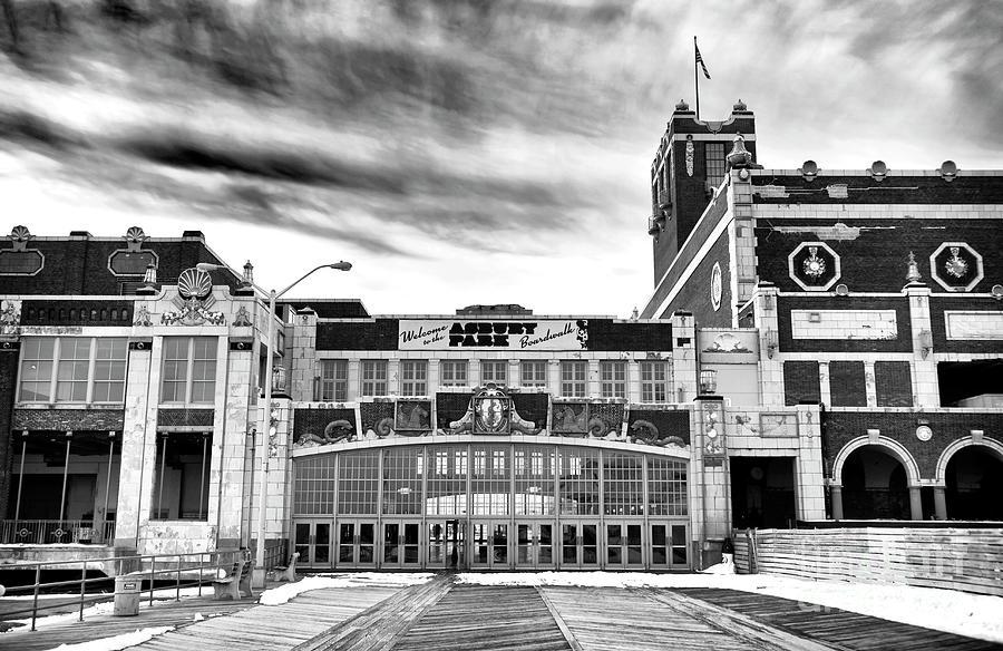 Boardwalk Photograph - Welcome To Asbury Park Monochrome by John Rizzuto