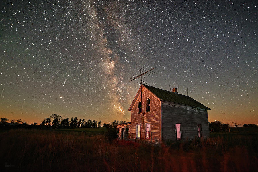 We'll Leave a Light on for ya -  Abandoned North Dakota farmhouse and summer milky way by Peter Herman
