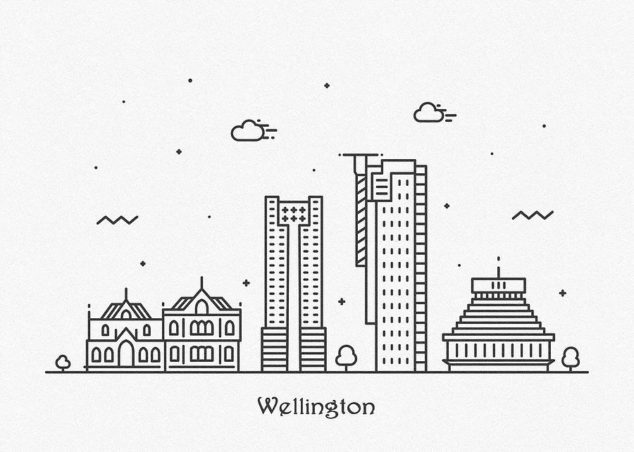 Wellington Cityscape Travel Poster by Inspirowl Design