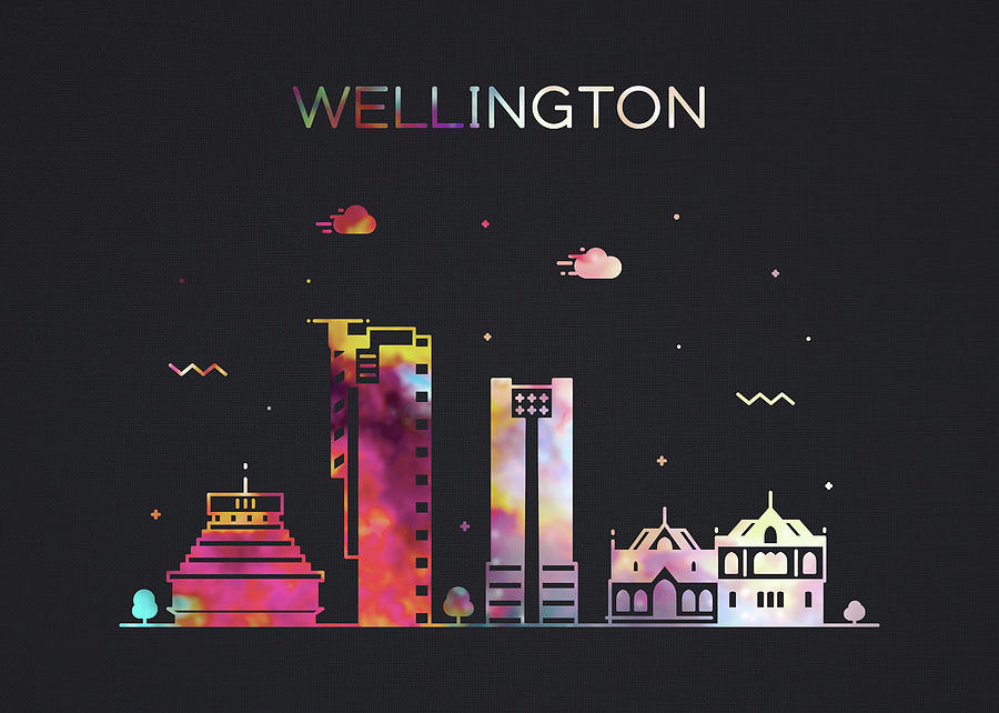 Wellington Mixed Media - Wellington New Zealand City Skyline Whimsical Fun Wide Dark by Design Turnpike