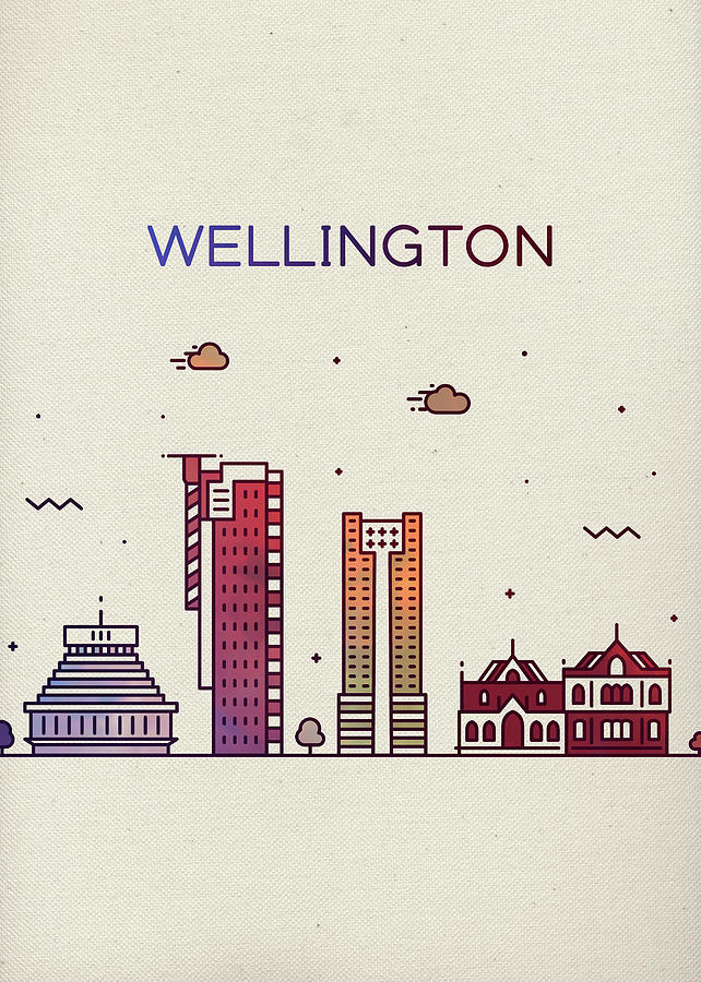Wellington Mixed Media - Wellington New Zealand Whimsical City Skyline Fun Bright Tall Series by Design Turnpike