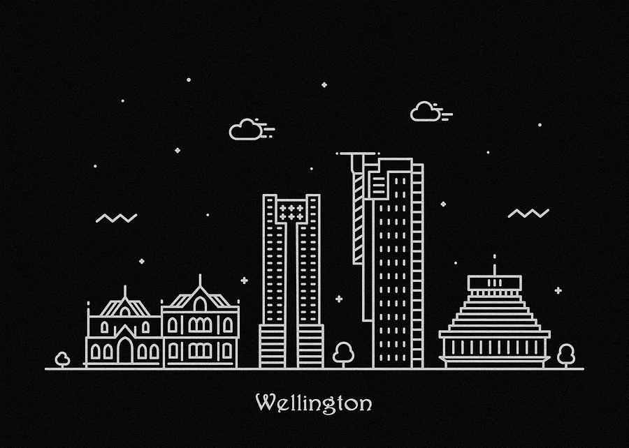 Wellington Digital Art - Wellington Skyline Travel Poster by Inspirowl Design