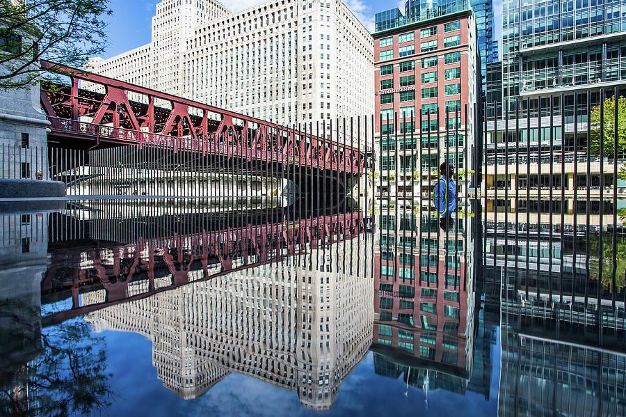 Wells Street Bridge Reflections Chicago by Lauri Novak