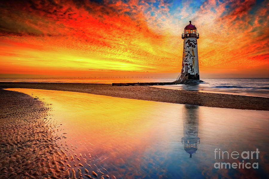Sunset Photograph - Welsh Lighthouse Sunset by Adrian Evans