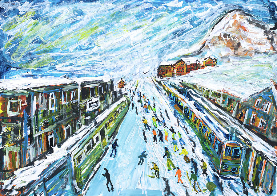 Wengen Ski Print by Pete Caswell
