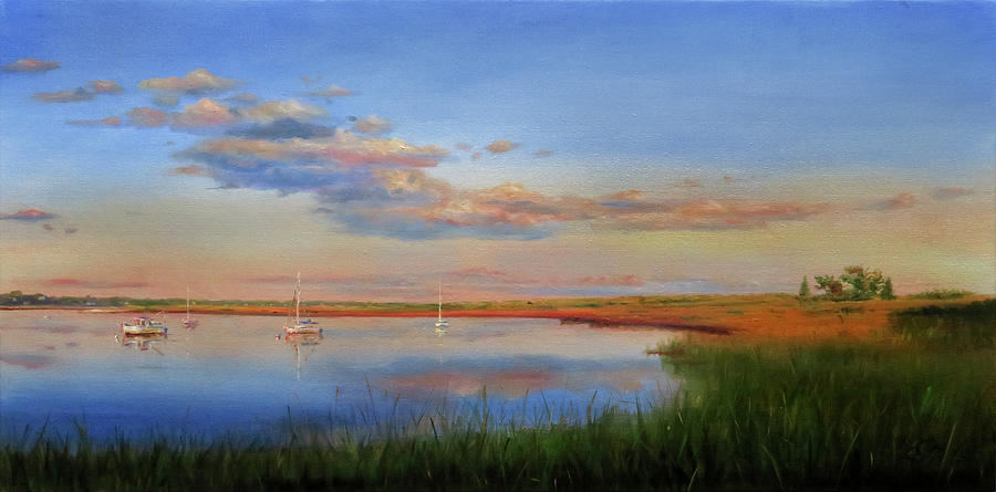 Cape Cod Painting - West Bay Landing, Osterville by Jonathan Guy-Gladding JAG