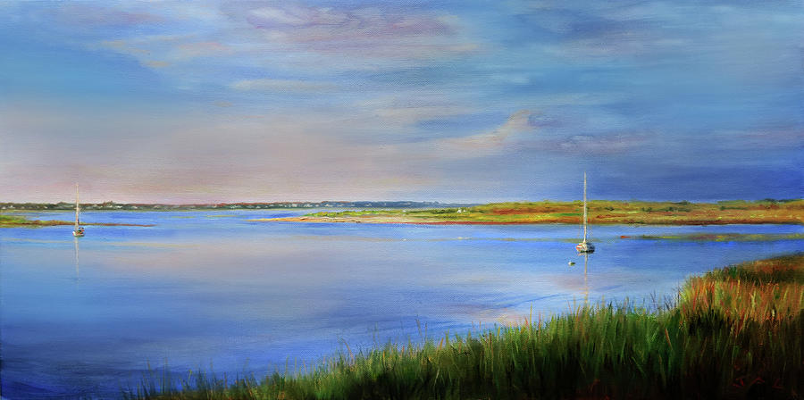 Cape Cod Painting - West Bay Landing, Osterville, Late Afternoon by Jonathan Guy-Gladding JAG