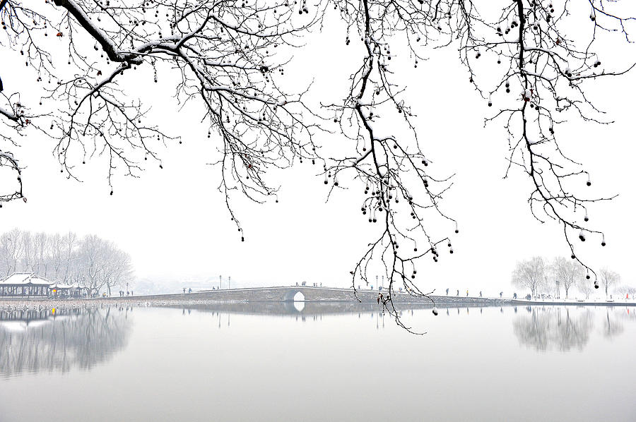 West Lake In Winter With Broken Bridge Photograph by Y. Peter Li Photography (www.flickr.com/photos/ypeterli)