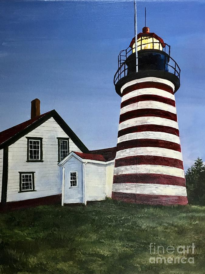 Striped Painting - West Quoddy Lighthouse by Wayne Mathisen