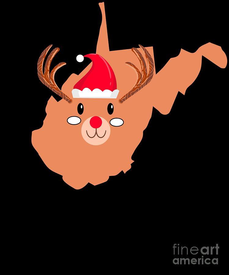 Christmas Digital Art - West Virginia Christmas Hat Antler Red Nose Reindeer by TeeQueen2603