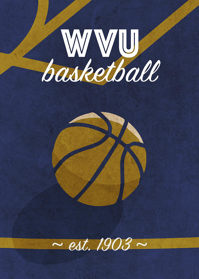 West Virginia Mixed Media - West Virginia College Basketball Retro Vintage University Poster Series by Design Turnpike