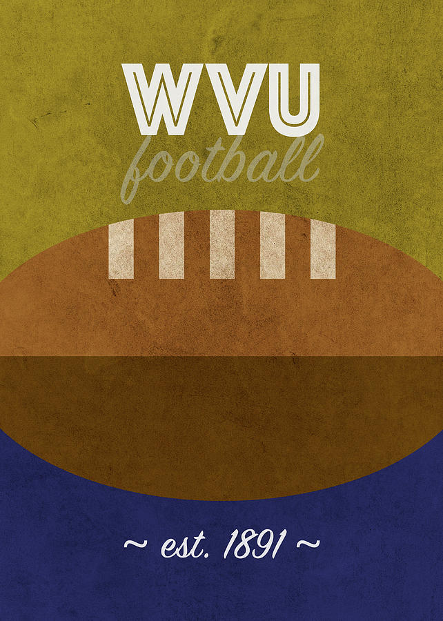 West Virginia Mixed Media - West Virginia Football College Retro Vintage Poster University Series by Design Turnpike
