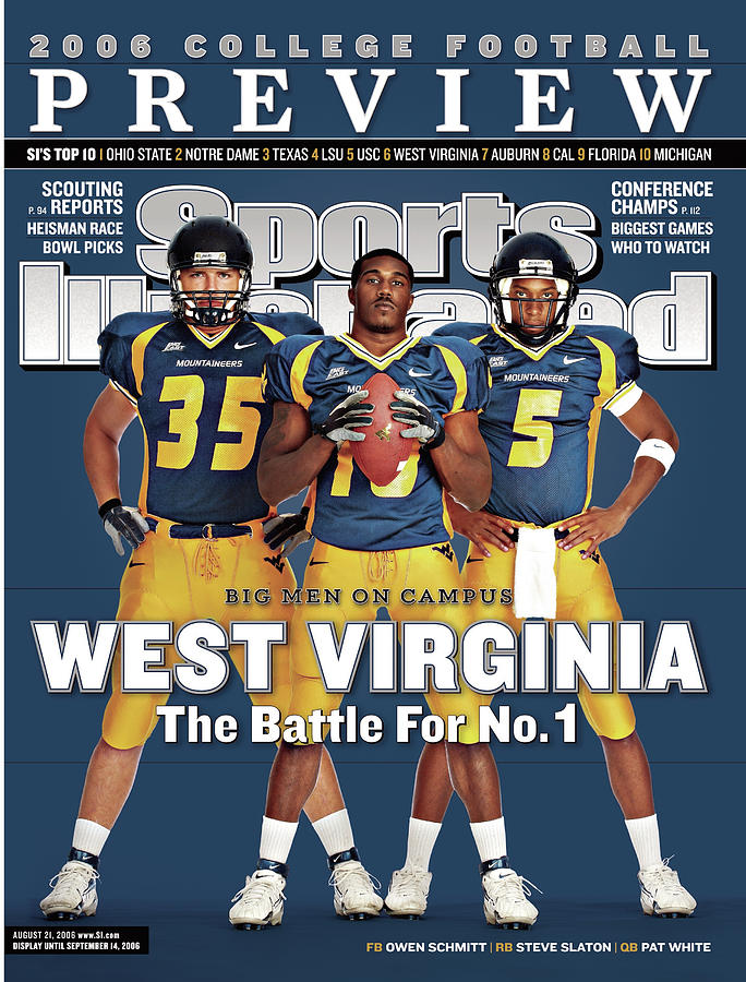West Virginia Steve Slaton, Qb Pat White, And Owen Schmitt Sports Illustrated Cover Photograph by Sports Illustrated