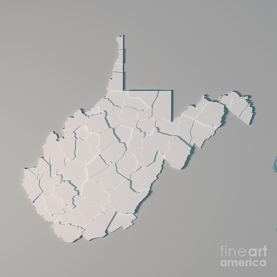 West Virginia Us State Map Administrative Divisions Counties 3d