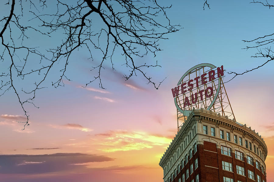Western Auto Sign Sunrise Downtown Kansas City Photograph By